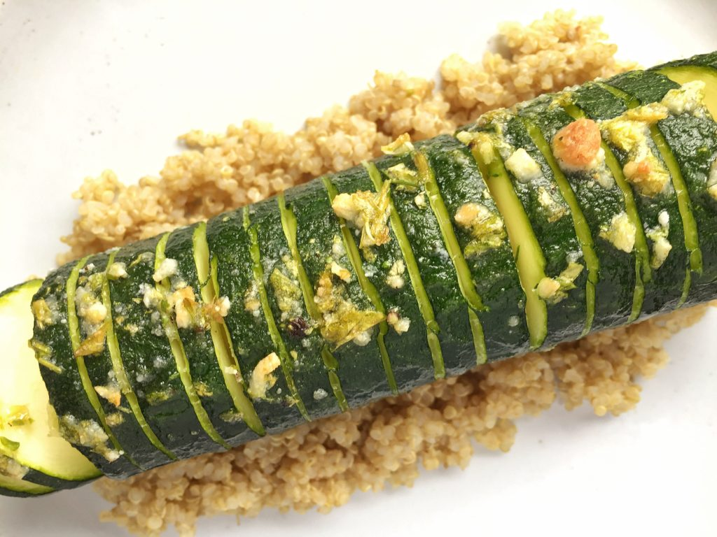 Baked Hasselback Zucchini with Quinoa