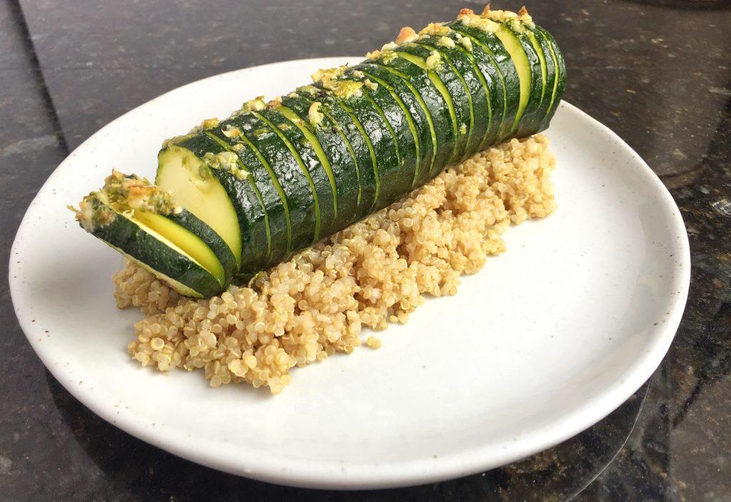 Baked Hasselback Zucchini on Quinoa