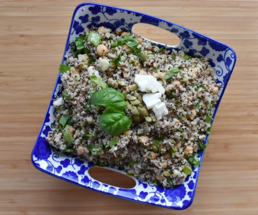 Basil Quinoa and Chickpea Salad