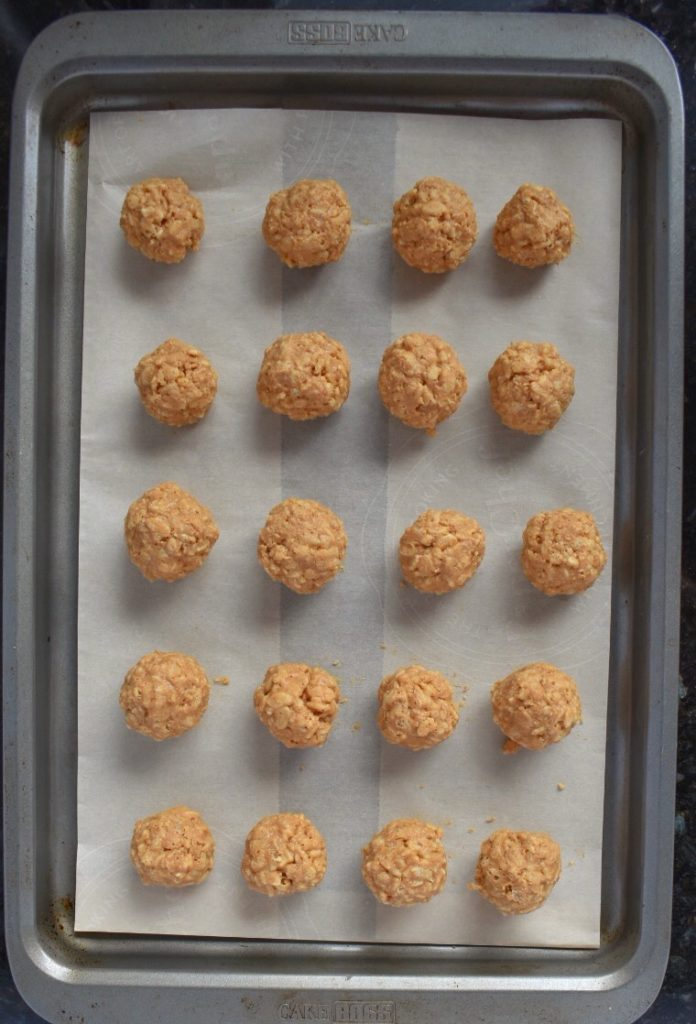 No Bake Peanut Butter Balls on Tray