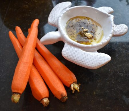 Roasted Tahini Ginger Carrots with Sauce