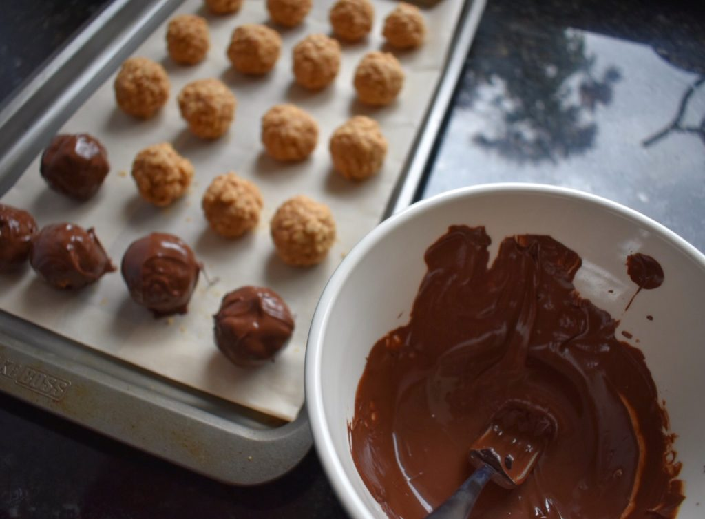No Bake Peanut Butter Balls Chocolate Covering
