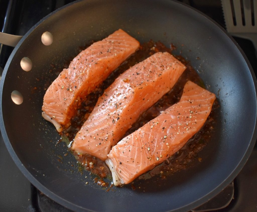 Pan Seared Salmon with Soy Ginger Glaze Cooking