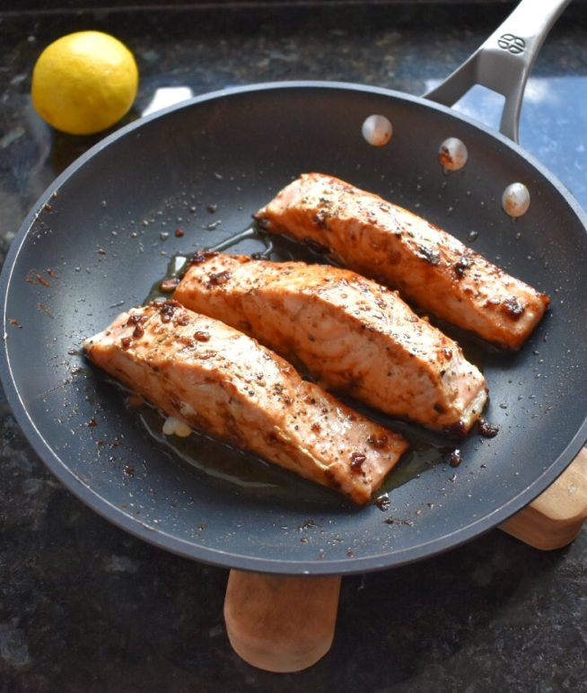 Pan Seared Salmon with Soy Ginger Glaze in Pan