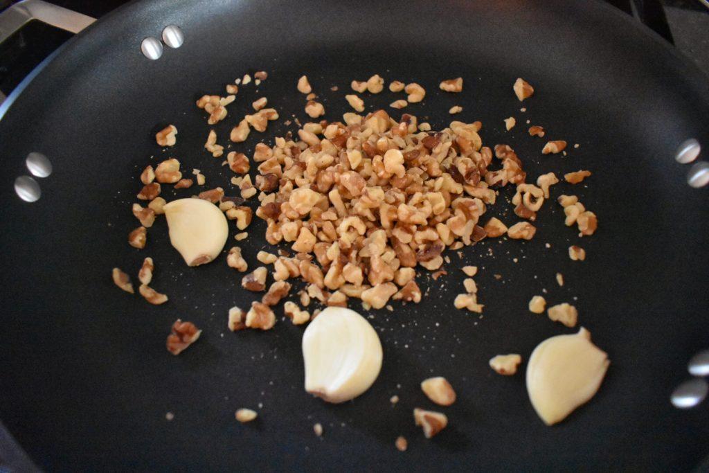 Arugula Walnut Pesto Toasting Ingredients