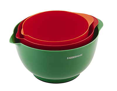 Farberware Classic Plastic Mixing Bowls, Assorted, Set of 3