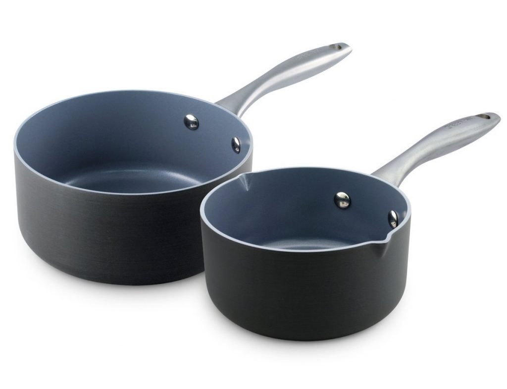 10. GreenPan Lima 1QT and 2QT Ceramic Non-Stick Saucepan Set