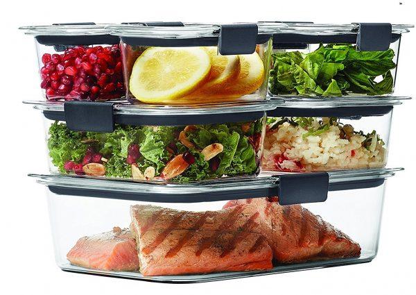 2. Rubbermaid Brilliance Food Storage Container, 14-Piece Set, 100% Leak-Proof, Plastic, Clear