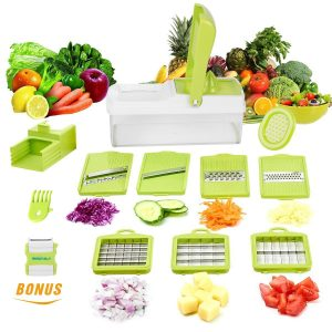 2. Vegetable Slicer Dicer WEINAS Food Chopper Cuber Cutter, Cheese Grater Multi Blades for Onion Potato Tomato Fruit Extra Peeler Included