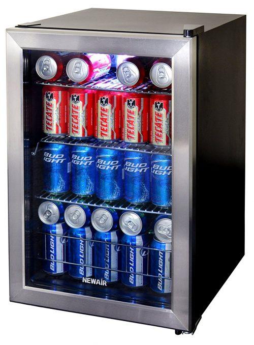 90 Can Capacity - Mini Bar Beer Fridge with Right Hinge Glass Door
