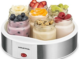 5. Gourmia GYM1610 Yogurt Maker With 7 Glass Jars Customize To Your Flavor And Thickness, Free Recipe Book Included