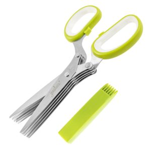 5. Jenaluca Herb Scissors Stainless Steel - Multipurpose Kitchen Shear with 5 Blades and Cover with Cleaning Comb