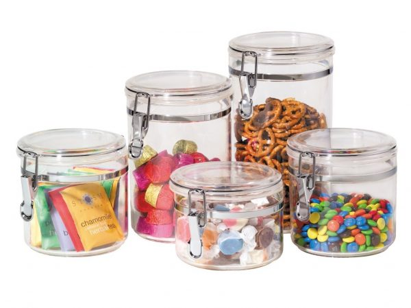 7. Oggi 9322 5-Piece Acrylic Canister Set with Airtight Clamp Lids-Food Storage Container