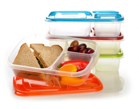 8. EasyLunchboxes 3-Compartment Bento Lunch Box Containers, Set of 4, Classic