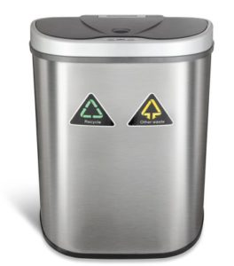 NINESTARS DZT-70-11R Automatic Touchless Motion Sensor Semi-Round Trash Can/Recycler