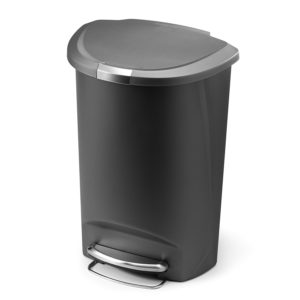 simplehuman Semi-Round Step Trash Can, Grey Plastic, 50 L / 13.2 Gal