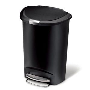 simplehuman Semi-Round Step Trash Can, Black Plastic, 50 L / 13 Gal