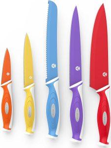 4. Vremi 10 Piece Colorful Knife Set