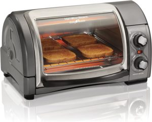 toaster oven with 4 slice toaster on top