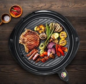 "Indoor grill pan Dishwasher Safe, Faster Heat Up, Low-Fat Meals, Easy To Clean Design, Includes Glass Lid, 14"" Round"