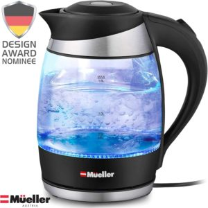 1.8 Liter Cordless with LED Light, Borosilicate Glass Electric Kettle