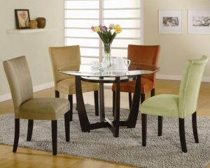 cheap round glass dining table set