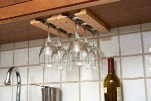 Wooden wine glass hanger