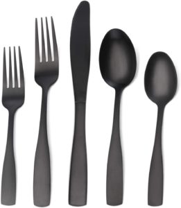 black stainless steel flatware