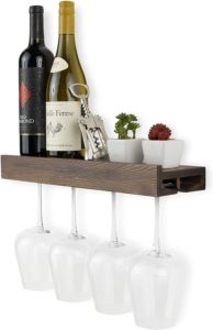 Wine Bottle and Wine Glass Holder Stemware Rack Storage Walnut