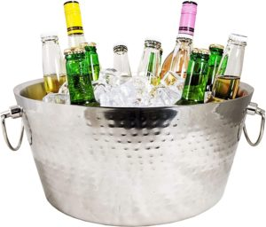 double-walled hammered beverage tub