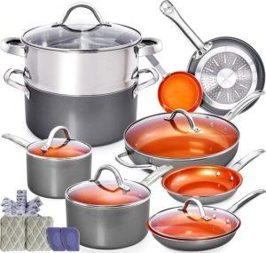 Copper Pots and Pans Set - 13pc Copper Cookware Set Copper Pan Set