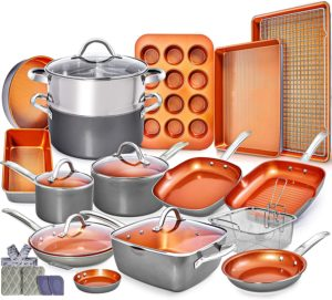 Copper Pots and Pans Set -23pc Copper Cookware Set
