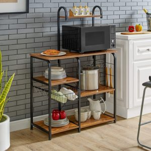 small microwave cart with storage