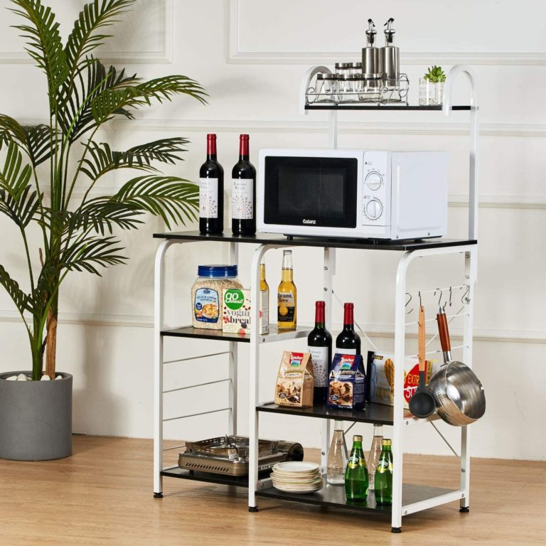 tall microwave cart with storage