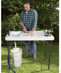 fish cleaning table with sink
