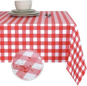 Oil-Proof and Spill-Proof Vinyl Rectangle Tablecloth