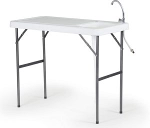 foldable fish cleaning table with sink