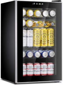 85 Can Mini Fridge Glass Door for Soda, Beer and Wine