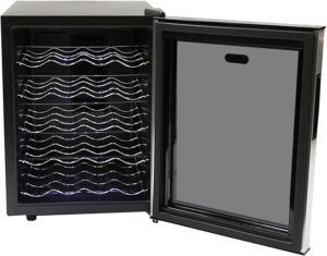 Black Tinted Mirror Glass Door Beverage Fridge