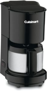 4-Cup Black Drip Coffee Maker with Stainless Steel Carafe