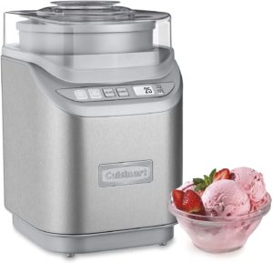 Brushed Chrome Ice Cream Maker with Countdown Timer