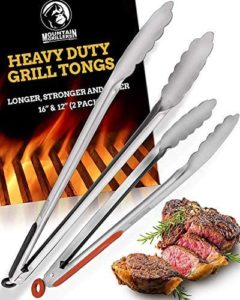 Heavy Duty Grilling Tongs for Cooking & Serving Food